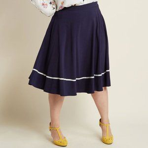 ModCloth Just This Sway Trimmed A-Line Skirt Navy